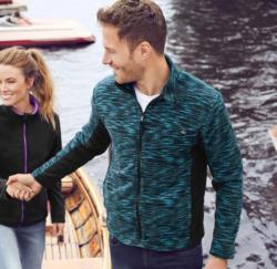 Herren-Polarfleece-Jacke mit farbigen Kontrasten