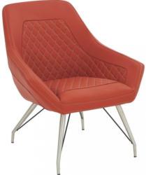 Sessel In Edelstahlfarben, Rot Metall, Textil