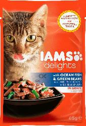 IAMS Nassfutter für Katzen Adult Delights, Seefisch & Grüne Bohnen in Sauce