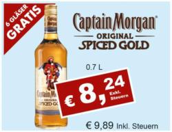 Captain Morgan Spiced Gold + 6 Original Gläser GRATIS