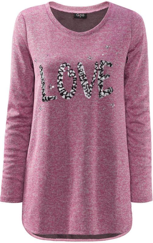 Damen Pullover mit Pailletten-Schriftzug