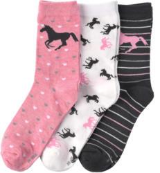 3 Paar Mädchen Socken mit Pferde-Motiven