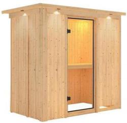 Karibu Sauna Variado, Fronteinstieg, ohne Ofen, mit Kranz, Klarglas-Tür