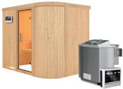 Karibu Sauna Titania 4, Fronteinstieg, 9 kW Bio Ofen, kein Kranz, Klarglas-Tür