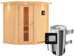 Karibu Sauna Tonja, Eckeinstieg, 3,6 kW Ofen externe Strg., mit Kranz, Energiespartür