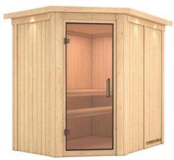 Karibu Sauna Saja, Eckeinstieg, ohne Ofen, mit Kranz, Klarglas-Tür