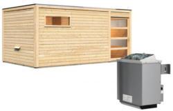 Karibu Saunahaus Hygge, 38 mm, 9 kW Ofen integr. Strg., Klarglas-Tür