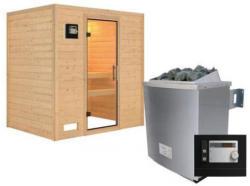 Karibu Sauna Sonja, Fronteinstieg, 9 kW Ofen externe Strg. modern, kein Kranz, Klarglas-Tür