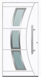 Aluminium Sicherheits-Haustür Venedig Superior, 60mm, weiß, 110x210 cm, Anschlag rechts, RC2-zertifiziert, inkl. Griffset