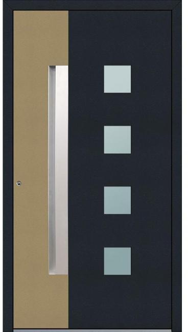 Aluminium Sicherheits-Haustür Genua Exklusiv, 75 mm, anthrazit-beige,  100x210 cm, Anschlag links, RC2-zertifiziert, inkl. Griffleiste