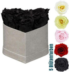 Rosenbox Herz 6 Rosen, 12x9 cm steingrau matt leinen/ weiß