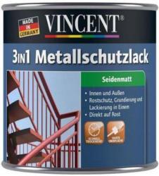 Vincent 3in1 Metallschutzlack hellgrau, seidenmatt, 250 ml