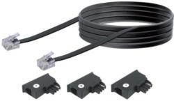 Schwaiger Telefon-Anschluss-Set, 10 m, schwarz, mit 3 Adaptern
