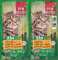 Dein Bestes Snack für Katzen, Bio Knabberstäbchen reich an Huhn und Leber