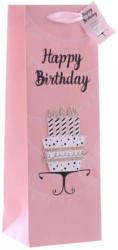 Geschenktasche Happy Birthday Flasche Rosa, Schwarz, Weiß, Goldfarben