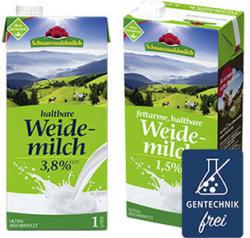 Schwarzwaldmilch Haltbare Weidemilch 1,5/3,8 % Fett, jede 1-Liter-Packung