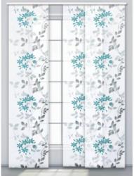 Schiebevorhang Fleur, grau-türkis, ca. 60 x 245 cm