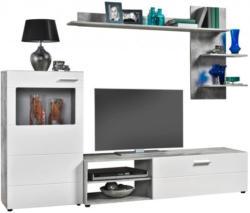 Wohnwand Imola Beton-Optik/weiß Hochglanz