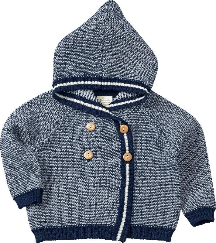 ALANA Baby-Jacke, Gr. 80, in Bio-Schurwolle, blau, weiß, für Mädchen und Jungen