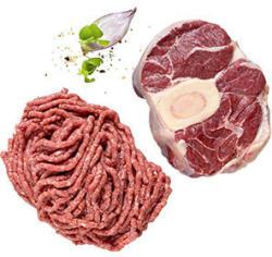 Rinderhackfleisch oder Rinderbeinscheibe je 100 g