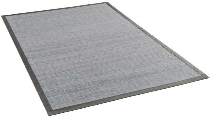 Bambusteppich mit Bordüre ca. 70 x 130 cm grau