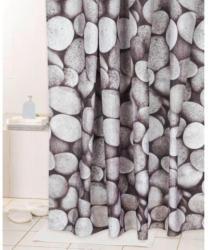 Duschvorhang grau Motiv Steine 180 x 200 cm