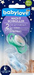 babylove Schnuller für die Nacht aus Silikon, symmetrisch, Größe 2, 5-18 Monate, Lalelu / schlaflos glücklich