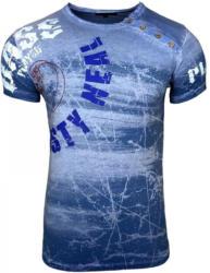 Rusty Neal Rundhals-Shirt mit Logoprint und Knopfleiste