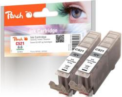 Peach Doppelpack Tintenpatronen grau mit Chip kompatibel zu Canon CLI-521gy, 2937B001