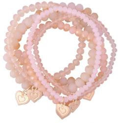 6 Damen Armbänder mit Herz-Anhänger