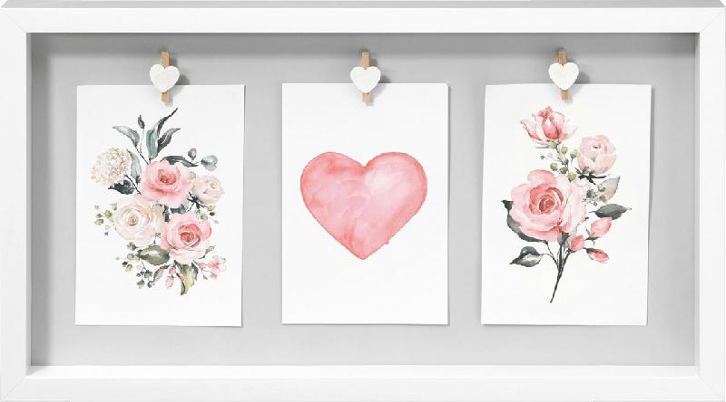 Paradies Galerierahmen Blumen weiß für 3 x 10x15 Fotos