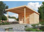 BayWa Bau- & Gartenmärkte Karibu Gartenhaus ,Geldern 9, mit Vordach, naturbelassen