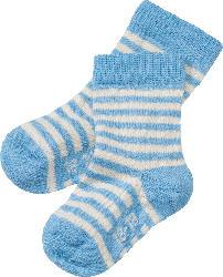 ALANA Baby-Söckchen, Gr. 18/19, in Bio-Schurwolle, Bio-Baumwolle und Elasthan, blau-geringelt, für Mädchen und Jungen