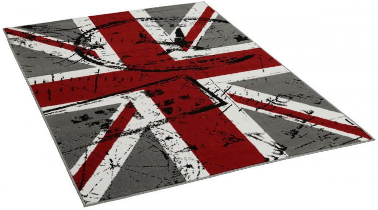 Teppich Union Jack ca. 133 x 190 cm grau