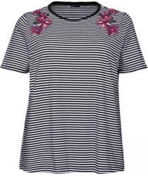 Damen-T-Shirt mit Blumen-Stickerei, große Größen