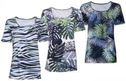 Damen-T-Shirt mit Blatt-Muster