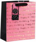Möbelix Geschenktasche Happy Birthday Pink M Schwarz, Weiß, Pink