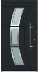 Aluminium Sicherheits-Haustür Venedig Superior, 60mm, anthrazit, 100x210 cm, Anschlag links, RC2-zertifiziert, inkl. Griffset