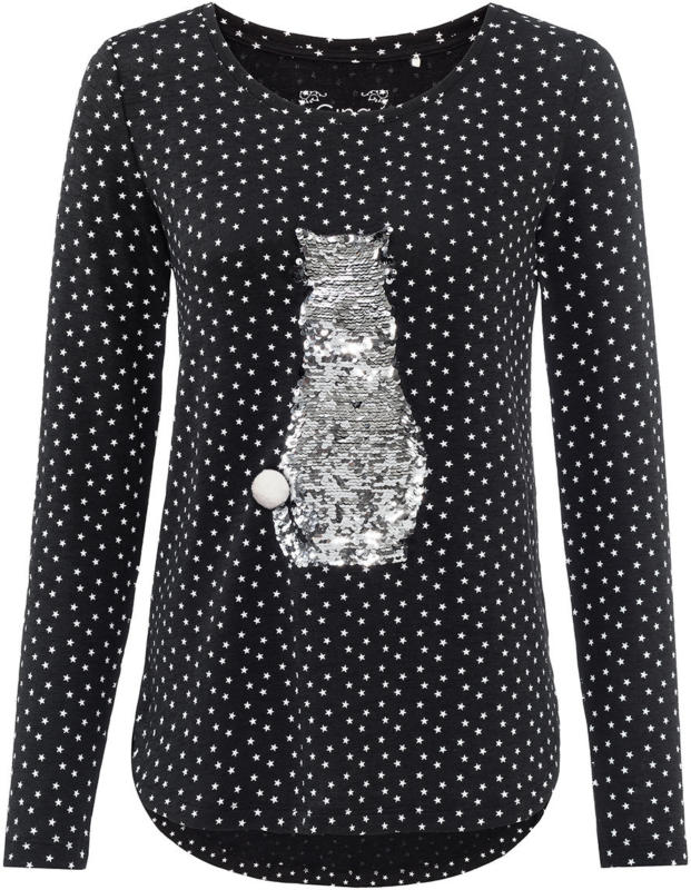 Damen Langarmshirt mit Wendepailletten