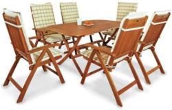 Gartenmöbel Set Bangor, 13-teilig, mit Auflagen Comfort Karo Grün