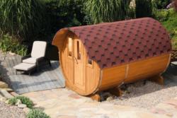 Saunafass 330 - Variante: komplett montiert,  Dachschindelfarbe: schwarz