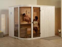 Designsauna Sara - Variante: 2 OS,  Ofen: 9,0 kW Saunaofen,  Steuerung: multifunktional mit Digitalanzeige,  Außenmaße BxTxH: 244x194x199 cm