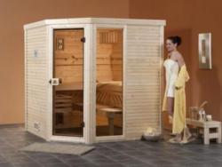 Massivholzsauna Cubilis Eck - Variante: 1 BioS,  Ofen: 7,5 kW BioAktiv-Ofen,  Steuerung: multifunktional mit Digitalanzeige,  Außenmaße BxTxH: 195x195x203 cm