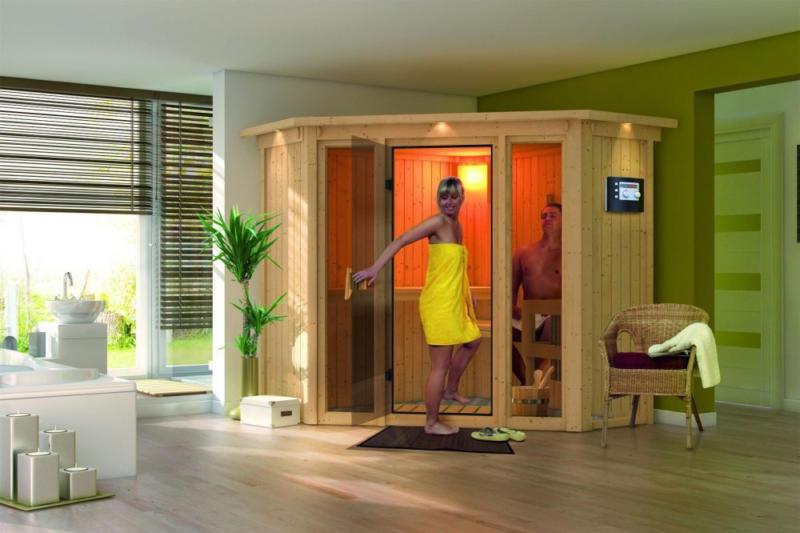 Karibu Sauna Flora 1 - Ausführung: Dachkranzmodell,  Ofen: exklusiv,  Steuerung: exklusiv