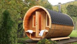 Saunafass de luxe - 330 cm inkl. Dachschindeln  - Variante: Bausatz, Dachschindelfarbe: schwarz