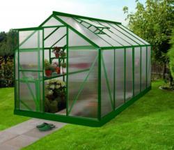 Vitavia Gewächshaus Triton - Ausführung: 7500 HKP 6 mm Grün, Fläche: ca. 7,5 m², Fenster: 2, Maße: 198 x 379 cm, Sockelmaß: 190 x 377 cm