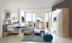 Schlafzimmer Komplett - Set Nako A, 6-teilig, Farbe: Eiche / Weiß
