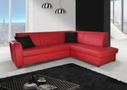 Polstermöbel Giovanna in rot mit Staukasten und Bettfunktion - Abmessungen: 245 x 200 cm (B x T) - Ottomane: Rechts