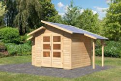 Karibu 28 mm Gartenhaus Grönelo im Set inkl. Schleppdach und Anbauschrank - Ausführung: naturbelassen