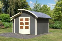 Karibu 28 mm Gartenhaus Almelo im Set inkl. Anbauschrank Premium - Ausführung: terragrau